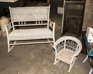 Wicker rocking bench and child's chair.