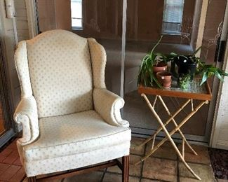 Wingback Chair, Cork Tray Table, Plants