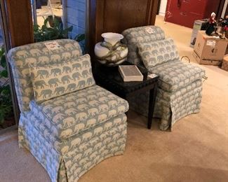 Elephant Chairs, Black end Table