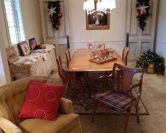 Mid-Century Dining table and 5 side chairs, 1 arm chair 2 - 8 ft heavy front doors with wreaths