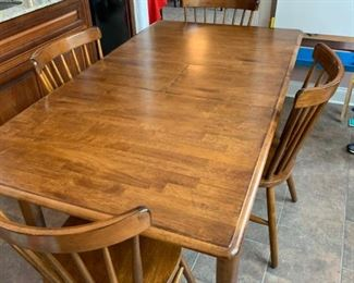 "#2		dining table with 4 chairs built in 12"" leaf 54x36x29.5	 $225.00"
