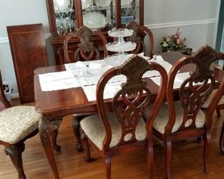 formal dining table w/ chairs, china cabinet, 1 leaf & table pads