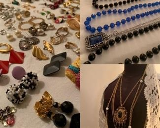 Lots of jewelry from the 60s to now.  Dress form is NOT FOR SALE
