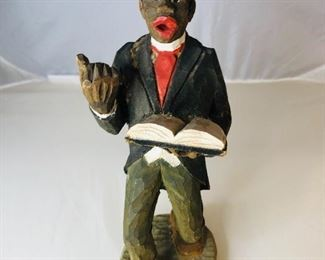 Front view Scarce 1944 hand Carved Wooden Statue by American folk artists Adrian R Woodall (1888-1969). This piece is entitled the Preacher . The Colors are bright in this Black Americana piece of artwork. First time offered From a private collection of a famous songwriters estate.
