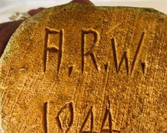 Adrian Woodall initials on Bottom mark of Preacher statue
