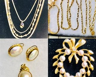 Variety of 14k and 10k Gold Jewelry in excellent Condition . From the estate of the 1957 Miss Missouri. She became a nurse and was married to a Doctor.