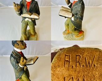 Scarce 1944 hand Carved Wooden Statue by American folk artists Adrian R Woodall (1888-1969). This piece is entitled the Preacher . The Colors are bright in this Black Americana piece of artwork. First time offered From a private collection of a famous songwriters estate.