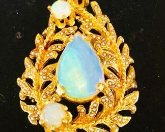 Vintage 14K Gold Opal and Seed pearls brooch . It is Custom made from the estate of an heir who wrote popular Country music songs with Hank Snow.