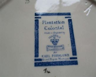 Mark on bottom of Plantation Colonial dish set