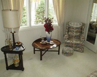 Tables, chair and household decorations