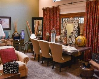 Indonesian puppets, antique picnic basket, Iranian vase, leather couch, vintage purse, eclectic home décor and furnishings
