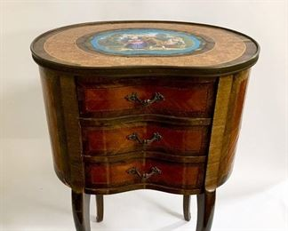 Louis XV 3 Drawer Nightstand with Sevres Hand Painted Plaque