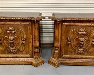 Pair of Walnut Carved Grotesque Face End Tables