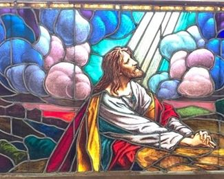 Large Stained Glass Religious Window C. 1900