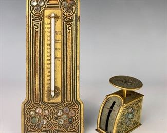 """Tiffany Studios """"Abalone"""" Thermometer & Scale"""