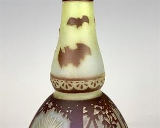 Rare Flying Bats Cameo Glass Vase by DeVez