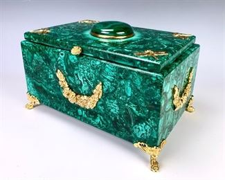 Russian Malachite & Dore Bronze Dragonfly Box