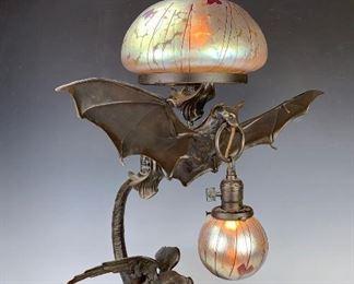 Bronze Bat & Dragon Lamp with Loetz Type Shades