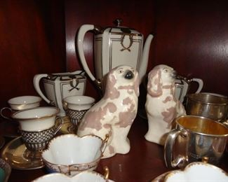 STAFFORD DOGS, TIFFANY STERLING SILVER CUPS AND SAUCERS AND LEXON TEA SERVING SET