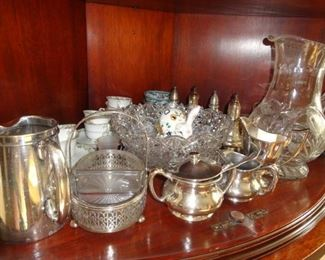 CRYSTAL, STERLING SILVER AND TEA CUPS AND SAUCERS