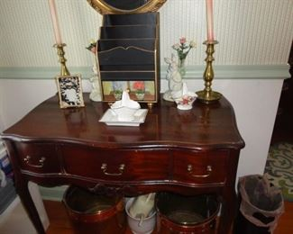 ANTIQUE TABLE, WOOD LETTER HOLDER AND BRASS CANDLEHOLDERS