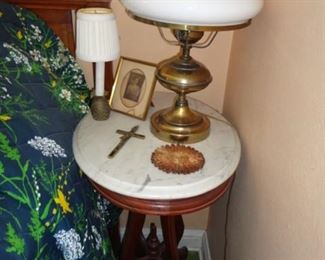 MARBLE TOP TABLE AND HURRICANE LAMP