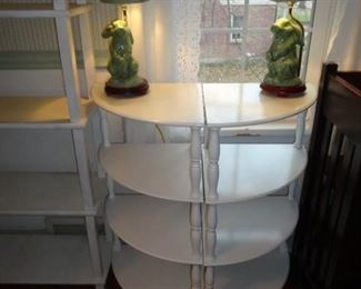 CORNER SHELVING WITH CHINA BUNNY LAMPS