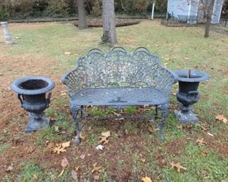WROUGHT IRON BENCH WITH PEDESTAL PLANTERS