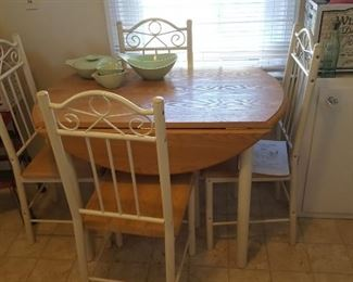 Kitchen table with 4 chairs drop leaf
