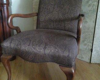 Walter E. Smithe gooseneck chair, aubergine paisley fabric