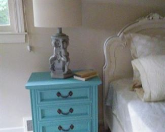 chalk paint cherub lamp w/linen barrel shade; set twin painted antique beds