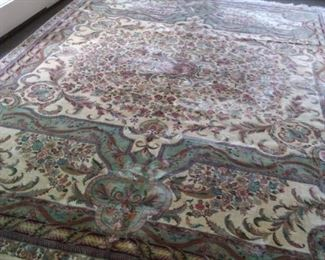 9 x 12 Pakistani wool rug in soft teal, beige