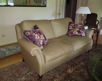 Sherrill roll-arm sofa in bronze fabric