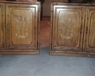 Pair salvaged vintage wood built-in cabinets