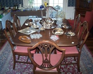 DINING SET, SILVER-PLATE SERVING PIECES, ORIENTAL-STYLE AREA RUG