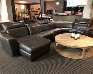 Dark brown leather sectional (one additional seat not shown!)