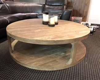 "Round Weathered Wood Cocktail table - 55""dia x 16""h"
