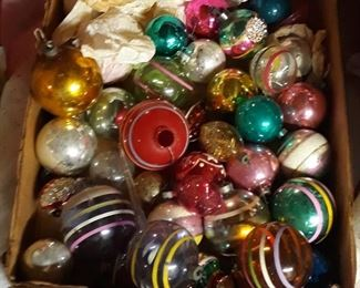 Early ornaments.  Some have tinsel inside. Cool