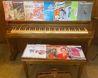 Kimball Upright Piano, (Circa late 1930s) And lots of sheet music