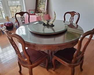 Fabulous Chinese Redwood Round Dining Table with 10 Chairs