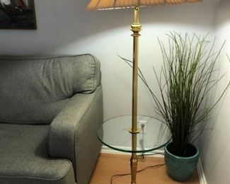 Lamp with built-in glass table. Does not include plant. Sofa pictured separately.