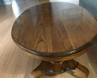 Oval oak coffee table.