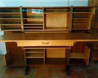 Mummenthaler and Meier style 'Magic Box' folding desk. Has water stain on desk part, otherwise in very good condition. Very cool find!