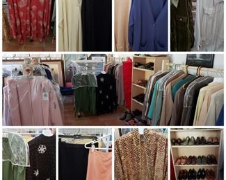 A sample of the women's clothing available.  If you're searching for quality professional clothing and holiday wear, there are many options! At last count, over 200 items. Mainly sizes L, XL, 2X, and 3X (as well as 14, 18, 20, 22w, 24w) - in excellent to like new condition. Some w/ tags, never worn.  Tops, skirts, cardigans, jackets, coats, scarves, belts, shoes, jewelry, bags, and purses.