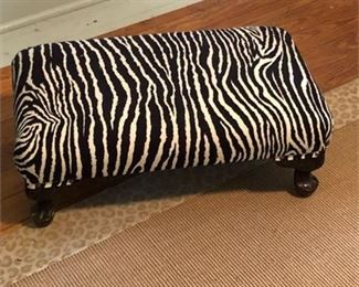 Lot 001 Vintage Recovered Footstool in Zebra Velour