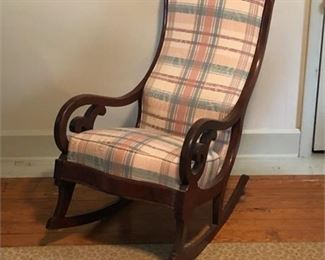Lot 026 Vintage Mahogany Carved Rocking Chair