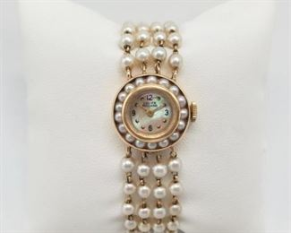 Lot 001 Vintage Lucien Picard 14K Gold/Pearl Watch