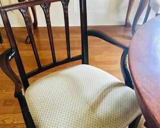 (6) ANTIQUE MAHOGANY DR CHAIRS FROM ENGLAND, INCLUDES TWO ARMCHAIRS, (4) SIDE CHAIRS