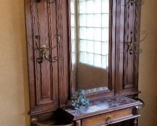 c1880s French marble top hall tree
