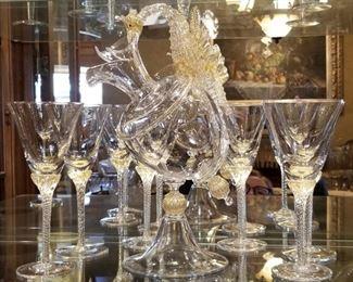 Signed 'Pauly' custom made Murano Venetian glass dragon decanter and 6 wine glasses